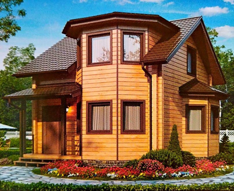 Картинки домов из дерева с эркером тепло